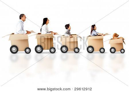 Family in a car made of cardboard box - express delivery concepts