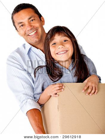 Man moving house and packing his daughter - isolated over a white background