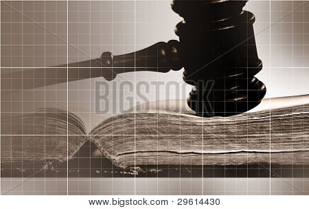 Wooden judges gavel. Strong grid lines and overall image is sepia colored.