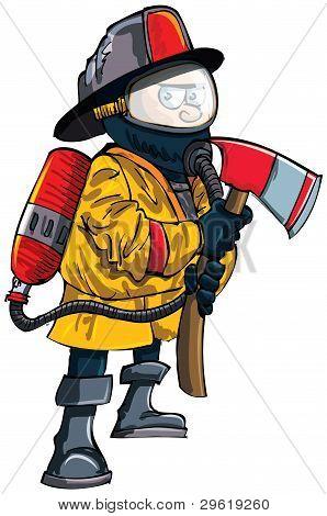 Cartoon fireman in a mask with an axe