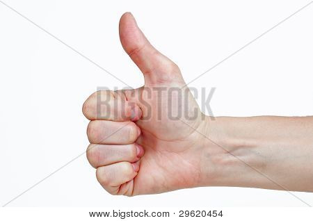 Woman's Hand Make Thumbs Up Isolated