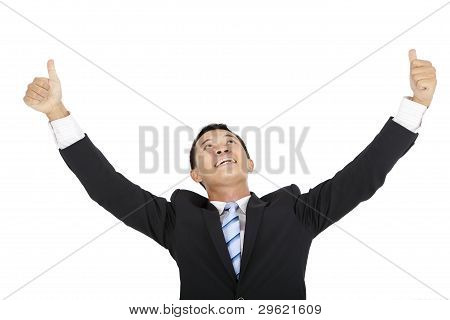 happy businessman looking up with thumb up