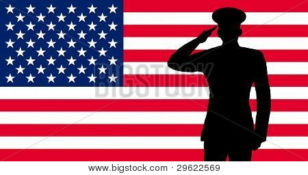 A american soldier saluting
