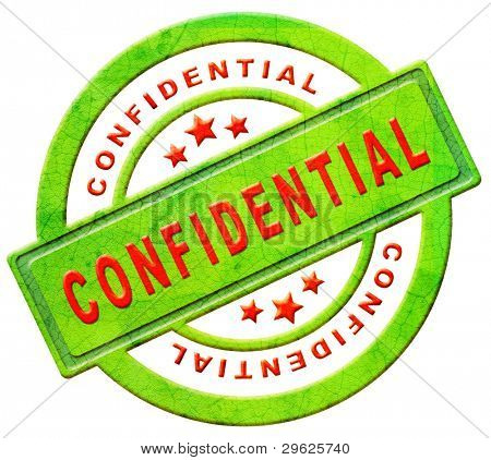 confidential secret or private personal information stamp or icon in red text on green isolated on white espionage spy info