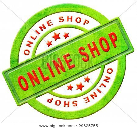 online shop or web shop icon red text on green sales button internet shopping concept isolated on white