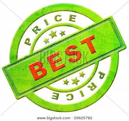 best price label or stamp red and green best seller low cost bargain sales offer discount