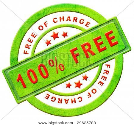 free of charge gratis label gift present 100% icon promotion free sample promotional free trial red text on green button isolated on white