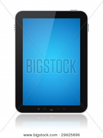 Tablet PC com tela azul isolada
