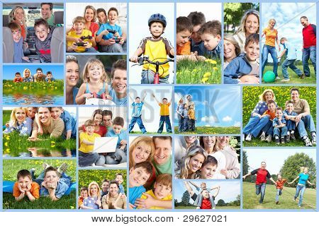 Happy family collage background. People outdoors.