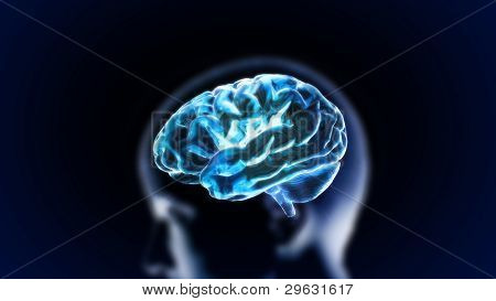 Blue Crystal Brain With Head
