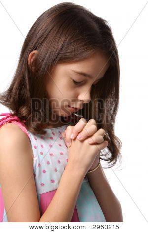 Young Girl - Head Bowed In Prayer