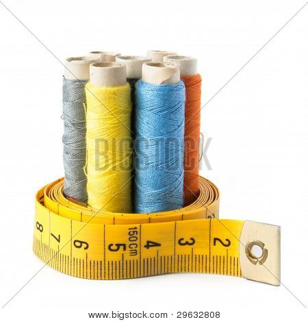 Sewing Thread With Measure Tape Isolated