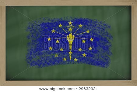 Flag Of Us State Of Indiana On Blackboard Painted With Chalk