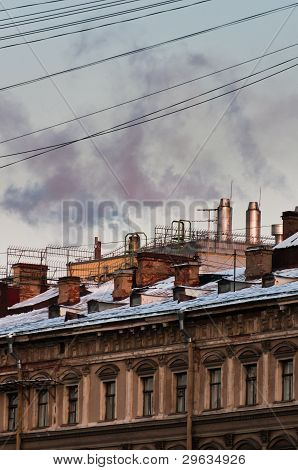 Vintage House With Chimneys