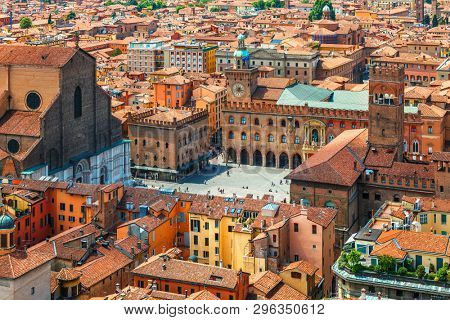 poster of Italy Piazza Maggiore in Bologna old town tower of town hall with big clock and blue sky on backgrou