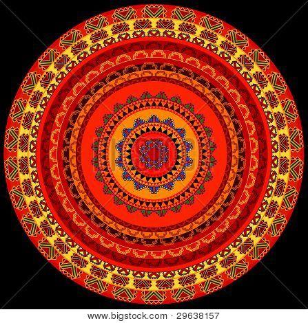 Diseño de Henna Mandala colorido
