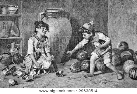 """The little thief."" Engraving by Kirmzey from picture by painter Mazott. Published in magazine ""Niva"", publishing house A.F. Marx, St. Petersburg, Russia, 1893"