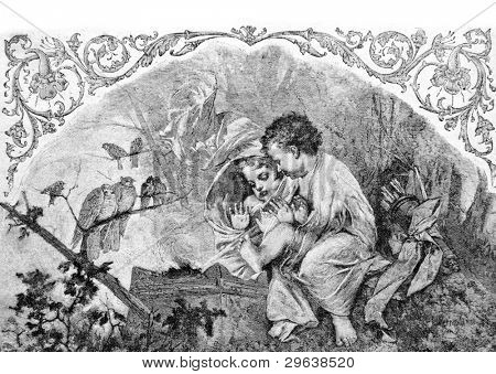 """""""Winter"""". Engraving by Bod from picture by painter Perro. Published in magazine """"Niva"""", publishing house A.F. Marx, St. Petersburg, Russia, 1893"""