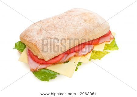 Delicious Ham, Tomatoes And Cheese Ciabatta Sandwich