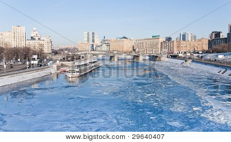 View On Frozen Moscow River In Sunny Winter Day