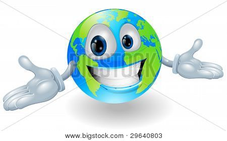 Happy Cute Globe Character