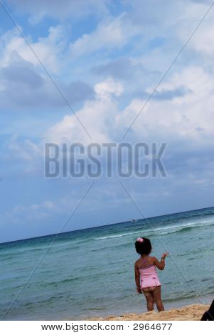 Beautiful Child On Beach In Playa Del Carmen, Mexico