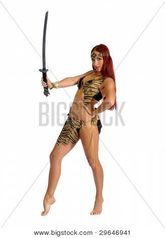 Warrior Woman Holding Sword In Her Hand