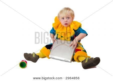 Sad Child With Laptop