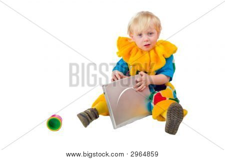 Child Holding Laptop
