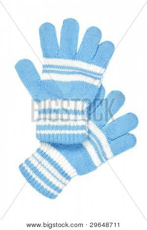 Children's wear - woollen gloves isolated over white background