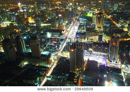 Aerial view of city skyline at night. Bangkok. Thailand.
