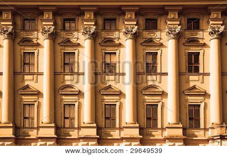 Windows of classic style palace close up