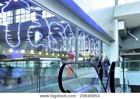 Entrance to food court at modern shopping center
