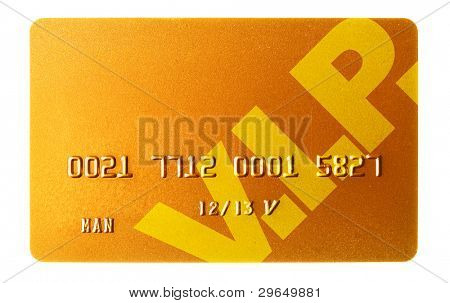 Gold credit card isolated over the white background