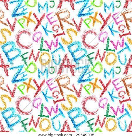 Seamless pattern - Crayon alphabet over white background