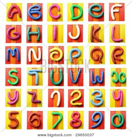 Bunte Knete Alphabet isolated over white background