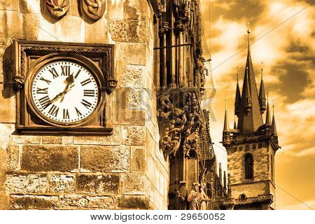 Clock on the wall of Old Town Hall, Prague, Czech republic