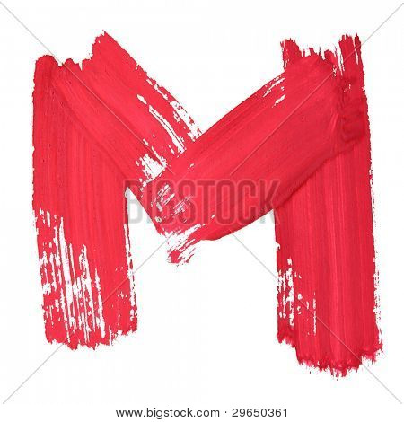 M - Red handwritten letters over white background