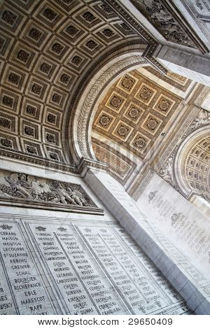 Inside of The Triumphal Arch, Paris, France