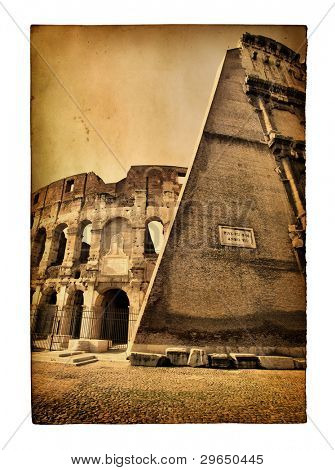 Vintage postcard with The Colosseum view isolated over the white background