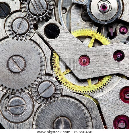 Clockwork of wristwatch super close up