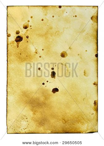 Old paper with stains isolated over the white background