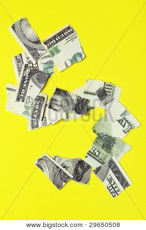 Crisis - Dollar sign over yellow background