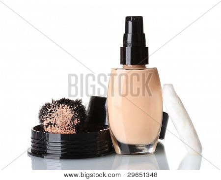 Cosmetic liquid foundation with powder on white