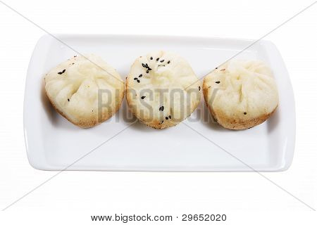 Chinese Dumplings On Plate