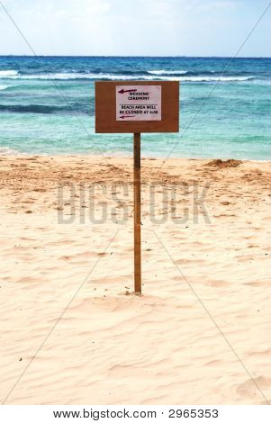 Beach Closed For Wedding Sign