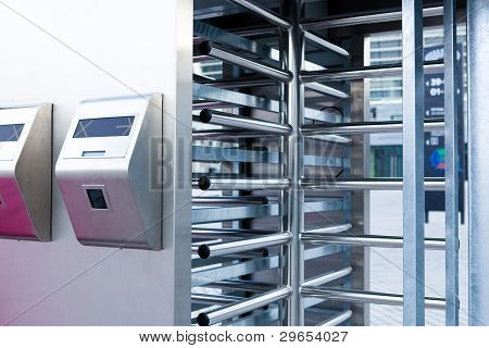 Closeup Of Security Turnstile On Stadium