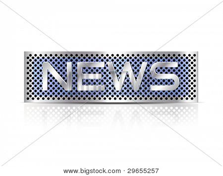 News text metal plate against white background