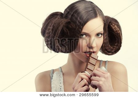 Vintage Style Girl Eating Chocolate