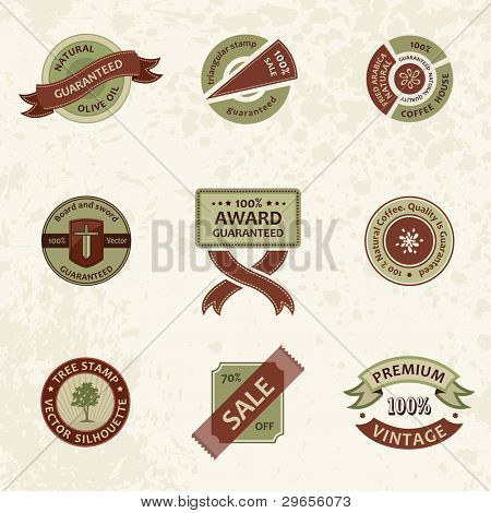 Vector set vintage ornate decor elements. ornaments ribbon stamps isolated